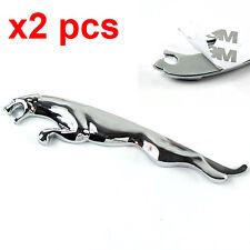 2 Pcs Decal Leaping Cat ALlloy Badge Emblem Sticker FOR JAGUAR XF XK XJR E X XJ
