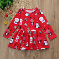 Toddler Kids Baby Girl Christmas Clothes Long Sleeve Party Princess Short Dress