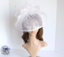 Jumbo Church Derby Wedding Feather floral Sinamay Fascinator Off-white 511