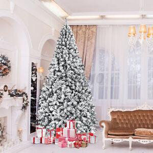 7.5FT Pre-lit Fiber Optic Snow Flocked Artificial Christmas Tree w/550LED Light
