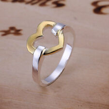 UK New Silver and Gold Plated Open Heart Ring Love Band Ring Big Promise   (092)