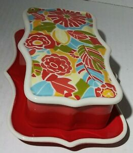 Anthropologie For Biscuit Red Floral Covered Butter Dish