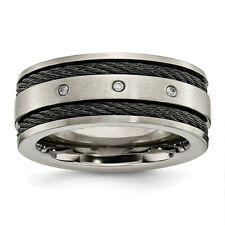 Chisel Titanium Black IP-plated Cable and Diamonds 10mm Brushed Band Ring TB265A