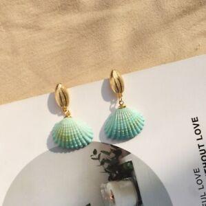 AU Seller Aqua Green Sea Shell Ocean Pendant Drop Dangle Earrings Boho Gift