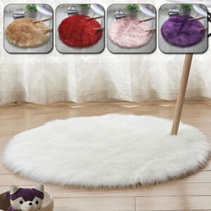 Shaggy Fluffy Rug Living Room Plush Carpet Anti-Skid Circle Round Floor Mat New