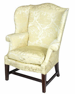 SWC-Upholstered Hepplewhite Mahogany Wing Chair, Philadelphia, c.1780