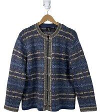 SKYR Womens Size L Soft Blue Gray Wool Cardigan Sweater Fair Isle Clasps Nordic