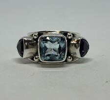 Bali 925 Sterling Silver Wide Band Aquamarine Amethyst Ring Size US 6