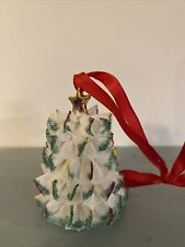 Irish Dresden Lace Porcelain Christmas Tree Star Bell 2 1/2""