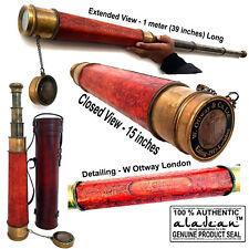 """BRASS TELESCOPE 39"""" - W Ottway & Co London 1915 Replica Antique Spyglass Scope"""