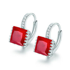 Fashion Square Garnet Red Sapphire Silver Gold Filled Women Hoop Party Earrings
