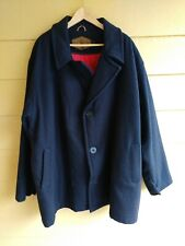 Woolrich Men's Coat Large Navy Blue Wool 3 Button Overcoat XL  Extra Large