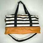 DSW Weekender Duffle Bag Black White Striped Tan Shoe Base