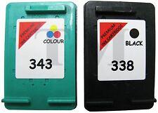 Remanufactured 338 Black & 343 Colour Ink Cartridge Combo Fit HP Photosmart 2575