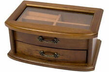 Brown Wooden Jewellery Box with Interior Mirror & drawer Christmas Gift