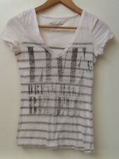 AMERICAN EAGLE OUTFITTERS GRAPHIC V-NECK WHITE GRAY STRIPED T-SHIRT XS