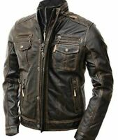 Classic Diamond Motorcycle Biker Brown Distressed Vintage Leather Jacket