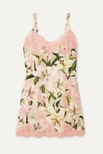 NWT Dolce Gabbana Lace-trimmed floral-print silk-blend chemise Silk Lily Dress 4