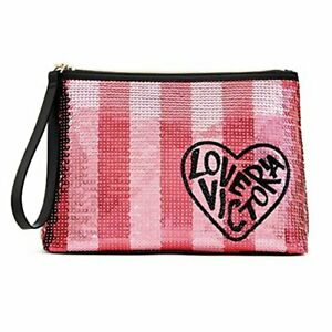 NEW Victoria's Secret Pink Stripped Sequin Large Cosmetic Travel Makeup Bag