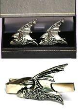 Pipistrelle Bat Cufflinks & Tie Clip Bar Tack Slide Mens Set British Bird Gift