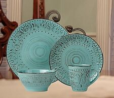 Casual Dinnerware Sets Dishes Service For 4 Everyday Rustic Distressed Blue Gift