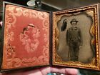 Triple armed Union soldier quarter plate ambrotype - problems, but cheap