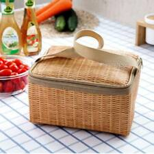 Retro Imitation Rattan Woven Thickened Waterproof Insulated Picnic Lunch Bag
