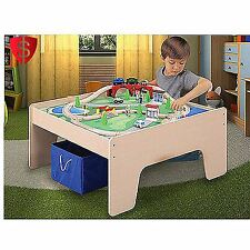 Train Table Set Wooden Kids Toy Play Track Trees Activity Storage Bin 45 Piece