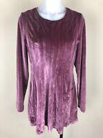 Soft Surroundings Size M Bella Rosa Velour Velvet Tunic Top Long Sleeves