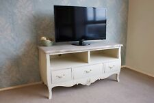 Style French Country Casamoré Devon Shabby Chic Cream Painted 3 Drawer 2 Shelf Tv Media Stand Unit