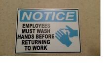 """Notice Employees Must Wash Hands before Returning To Work Sticker 3.5"""" x 5"""""""
