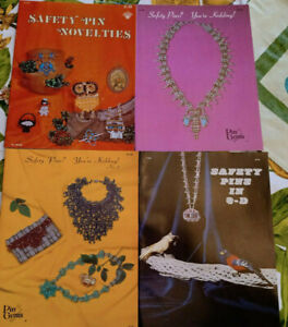 4 NEW Vintage 1970's NOS ~ Safety Pin & Bead Jewelry Making Instruction Booklets