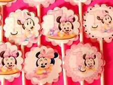 15 BABY MINNIE MOUSE Cupcake Toppers Birthday Party Favors, Baby Shower 15