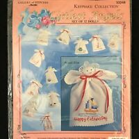 "Vtg Bucilla Littlest Angels Special Days 12 Dolls Kit 33246 Embroidery Kit 5"""