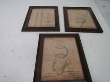 "Personal Prints 3 pc Framed Modern Patent Set - Baseball 14""x17"" Vf3Bb"