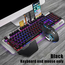 Gaming Keyboard Mouse Set Chargable Wireless Keyboard with Colorful Lights Mouse