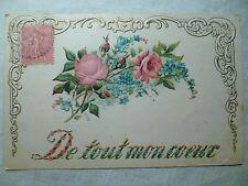 cpa fleur gaufrée postcard antique embossed flower artist carte postale ancienne