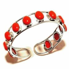 "RED CORAL 925 STERLING SILVER PLATED BANGLE / CUFF / Bracelet 2.5 "" Inch A"