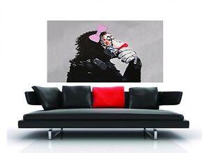 "CANVAS  Art Print DJ MONKEY GIRL THINKER  chimp PAINTING 39"" x 20"" pepe design"