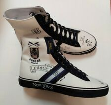 New Polo Ralph Lauren Mens High Top Sneakers Size 10.5 D White Navy