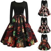 UK Womens Christmas Swing Dress Ladies Long Sleeve Party Skater Vintage Dress