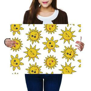 A2 | Sun Faces Happy Loving Cartoon - Size A2 Poster Print Photo Art Gift #12722