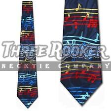 Music Tie Striped Neckties Rainbow Red Yellow Blue Neck Ties Brand New