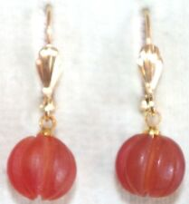 OLD STOCK CARNELIAN ROUND SWIRL GORGEOUS VINTAGE 14K GF LEVER BACK  EARRINGS