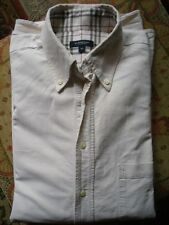 BURBERRY LONDON SHIRT, LABEL SIZE 41, 100% COTTON, CREAM WITH CLASSIC CHECK