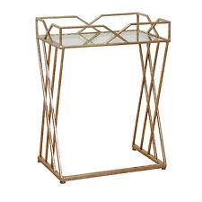 Konsolentisch Metall-Glastisch Beistelltisch Tisch Konsole Antik Couchtisch Gold