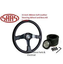 4WD Black SAAS Leather Steering Wheel 15 Inch 380mm Nissan Patrol MQ , GQ