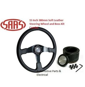 """SAAS Leather Steering Wheel 15"""" 380mm and Boss Kit Combo for Mitsubishi Triton"""