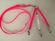 Hot Pink White Biothane For Small- Medium Dogs Adjustable & Triple Lead Splitter