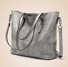 Korean Leather Shoulder Tote Bag Sling Bag (Light Gray)